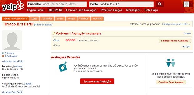 É preciso completar o review na web (Foto: Reprodução/Thiago Barros)