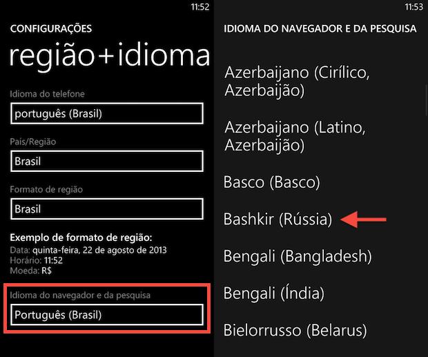 Alterando idioma de pesquisa para o russo (Foto: Reprodução/Helito Bijora)