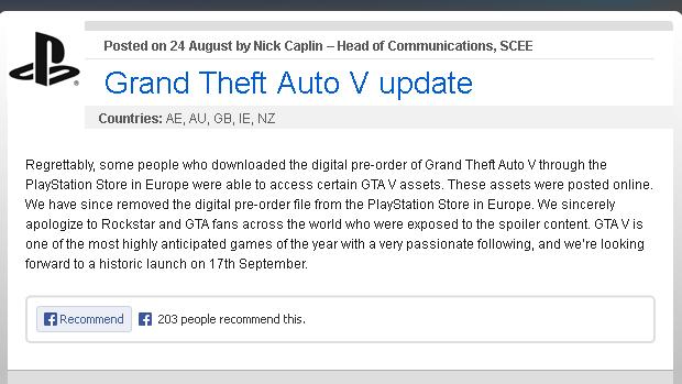 Arquivos de GTA 5 vazaram através da PlayStation Store europeia (Foto: Reprodução) (Foto: Arquivos de GTA 5 vazaram através da PlayStation Store europeia (Foto: Reprodução))