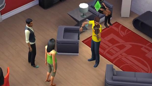 Nesta cena um Sim usa o violino para se livrar da concorrência (Foto: Reprodução)