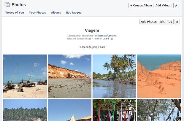 Pronto! Agora, seus amigos poderão postar fotos lá (Foto: Reprodução/Thiago Barros)
