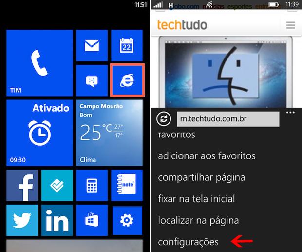 Abra o Internet Explorer no Windows Phone 8 e abra as configurações do aplicativo (Foto: Elson de Souza/TechTudo)