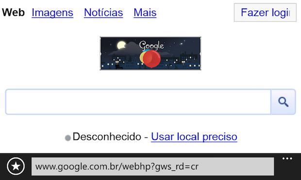 Realizado os passos acima, o Google é aberto ao pressiona o botão de pesquisa (Foto: Reprodução/Helito Bijora)