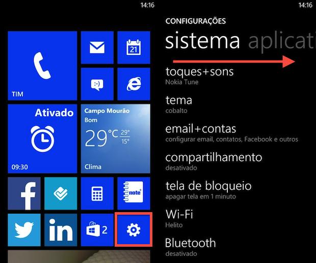 Configurações do WP8 (Foto: Reprodução/Helito Bijora)