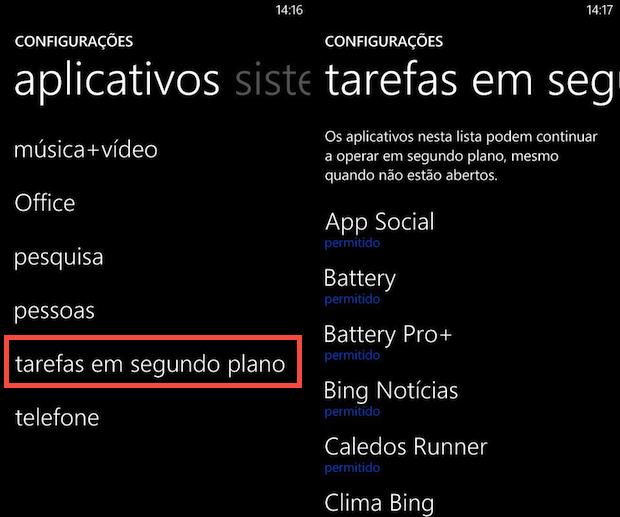 Acessando configurações de apps em segundo plano (Foto: Reprodução/Helito Bijora)