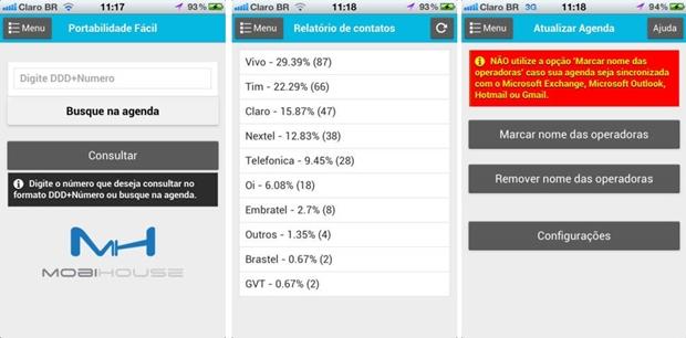 Telas do app para iOS Portabilidade Fácil (Foto: Divulgação/Portabilidade Fácil)