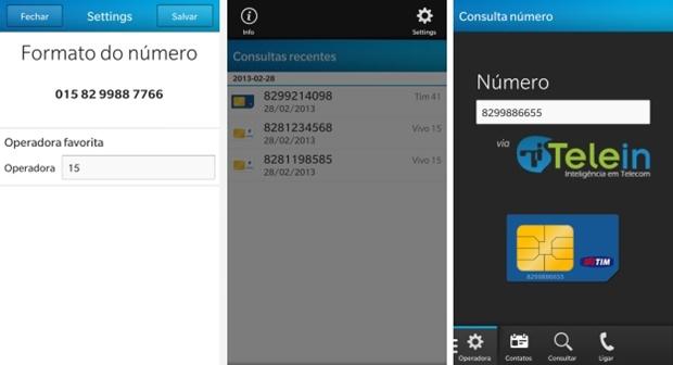 Screenshots do App para BlackBerry Telein Portabilidade (Foto: Divulgação/COMPE)