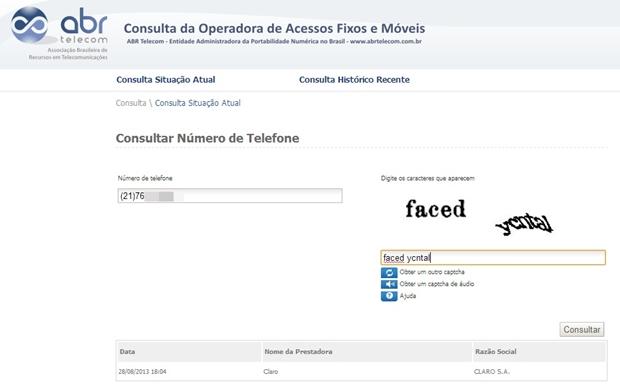 Página de consulta a operadoras da abrTelecom (Foto: Reprodução/Raquel Freire)