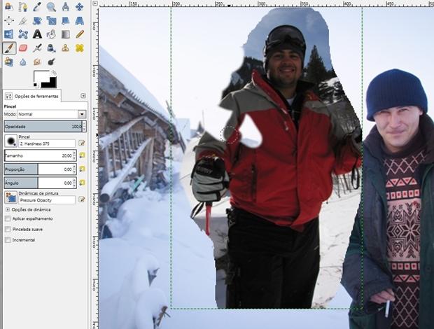 Demonstração do funcionamento inverso da ferramenta Máscara (Foto: Raquel Freire)
