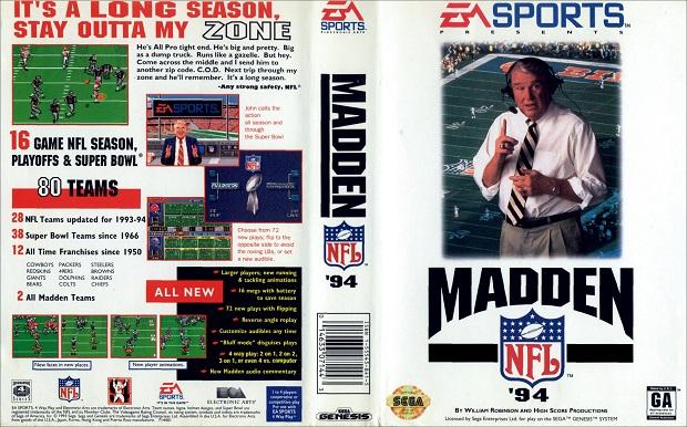 Madden NFL 94 foi o primeiro com autorização da liga (Foto: Reprodução The Old Computer) (Foto: Madden NFL 94 foi o primeiro com autorização da liga (Foto: Reprodução The Old Computer))