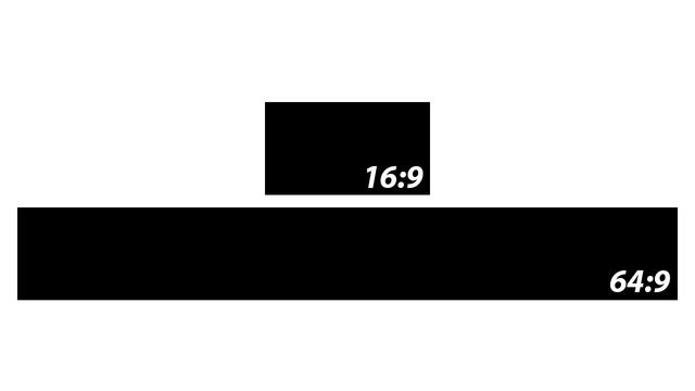 Imagem mostra a diferença nas proporções de uma tela de 16:9 e uma de 64:9 (Foto: Reprodução)