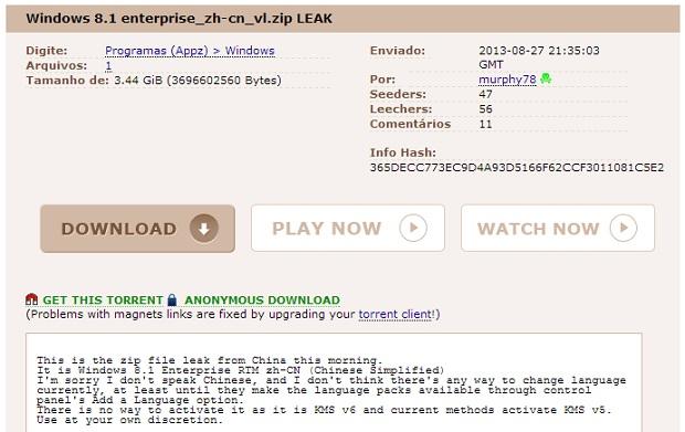 Versão chinesa do novo Windows caiu na rede (Foto: Reprodução Thiago Barros) (Foto: Versão chinesa do novo Windows caiu na rede (Foto: Reprodução Thiago Barros))