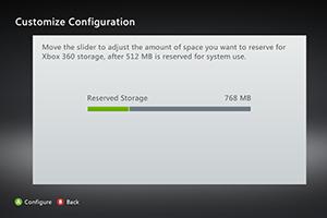 Passo 6 - Em Customise selecione quando quer reservar do Pendrive para o Xbox 360 (Foto: Divulgação)