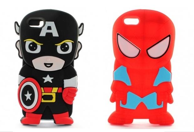 Capas de silicone do Capitão América e Homem-Aranha (Foto: Divulgação/Iphone Shopping)