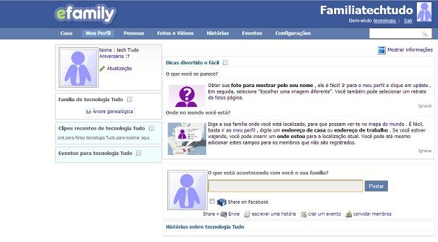 efamily, rede social para conectar familias (Foto: Reprodução)