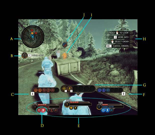 """Esquema da interface dos combates com o """"Battle Focus"""" acionado (Foto: Reprodução/Daniel Ribeiro)"""