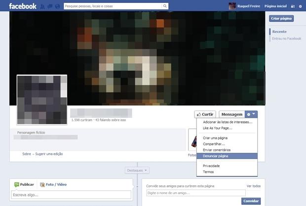Opção de denunciar página do Facebook selecionada (Foto: Reprodução/Raquel Freire)