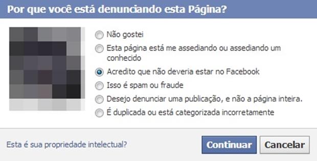 Janela com opções sobre motivo da denúncia da página (Foto: Reprodução/Raquel Freire)