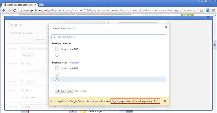Será necessário estar logado no Google para imprimir no Google Drive (Foto: Reprodução/Thiago Bittencourt) (Foto: Será necessário estar logado no Google para imprimir no Google Drive (Foto: Reprodução/Thiago Bittencourt))