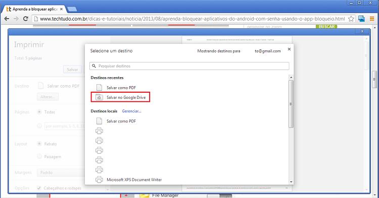 """Escolha a opção """"Salvar no Google Drive"""" (Foto: Reprodução/Thiago Bittencourt) (Foto: Escolha a opção """"Salvar no Google Drive"""" (Foto: Reprodução/Thiago Bittencourt))"""