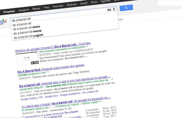 """""""Do a barrel roll"""" gira a tela do Google (Foto: Reprodução)"""