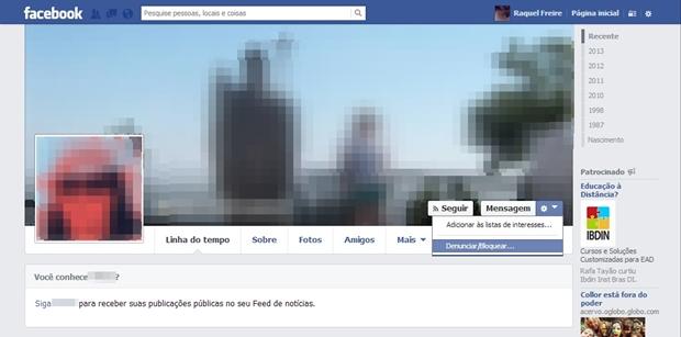 Página inicial do perfil a ser denunciado (Foto: Reprodução/Raquel Freire)
