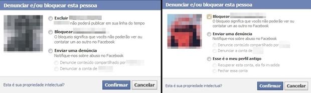 Caixas de denúncia de amigo (à esquerda) e não amigo (à direita) (Foto: Reprodução/Raquel Freire)