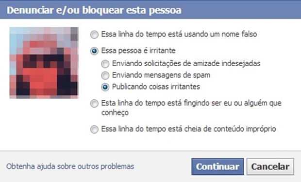 Janela com razões para denunciar/bloquear perfil (Foto: Reprodução/Raquel Freire)