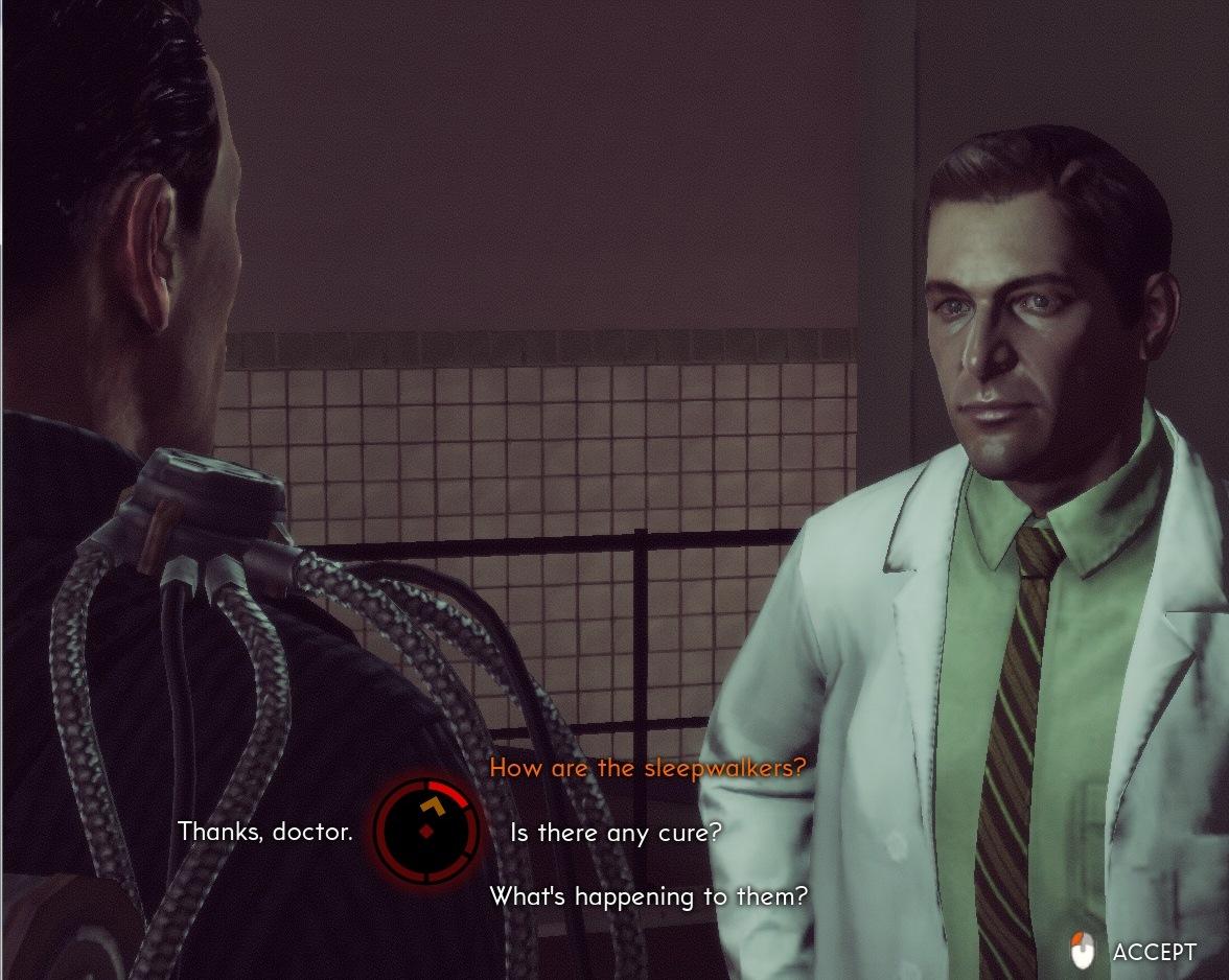 Durante as conversas o jogador poderá indicar falas e perguntas de Willian Cartes pelo mouse (Foto: Reprodução/Daniel Ribeiro)