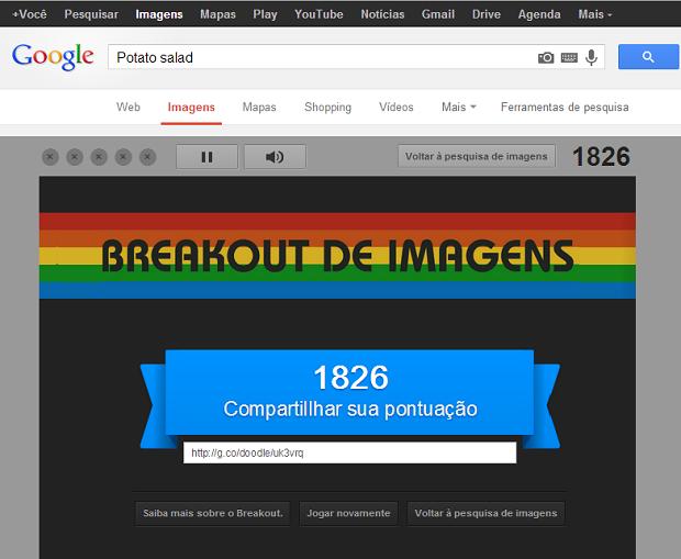 Se estiver logado com uma conta do Google você poderá compartilhar seu placar. (Foto: Techtudo)