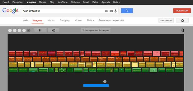 Tela do jogo Breakout dentro do Google Imagens. (foto: Techtudo)