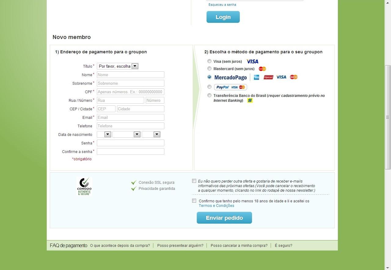 """Procure a opção """"Mercado Pago"""" no método de pagamento de compras em sites afiliados aos seus serviços (Foto: Reprodução/Daniel Ribeiro)"""