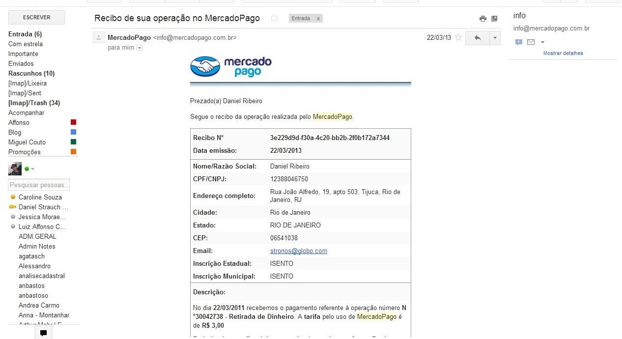 Você receberá um e-mail de confirmação da compra pelo Mercado Pago (Foto: Reprodução/Daniel Ribeiro)