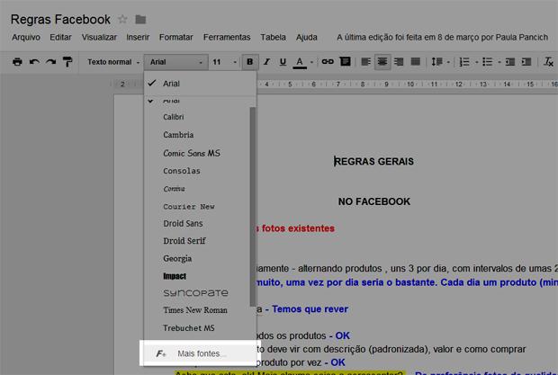 Acessando o menu de fontes (Foto: Reprodução/Teresa Furtado)