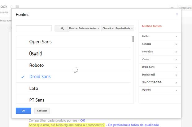 Consultando menu de fontes (Foto: Reprodução/Teresa Furtado)