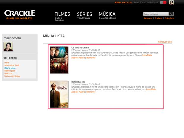 Filmes na lista do Crackle (Foto: Reprodução/Marvin Costa)