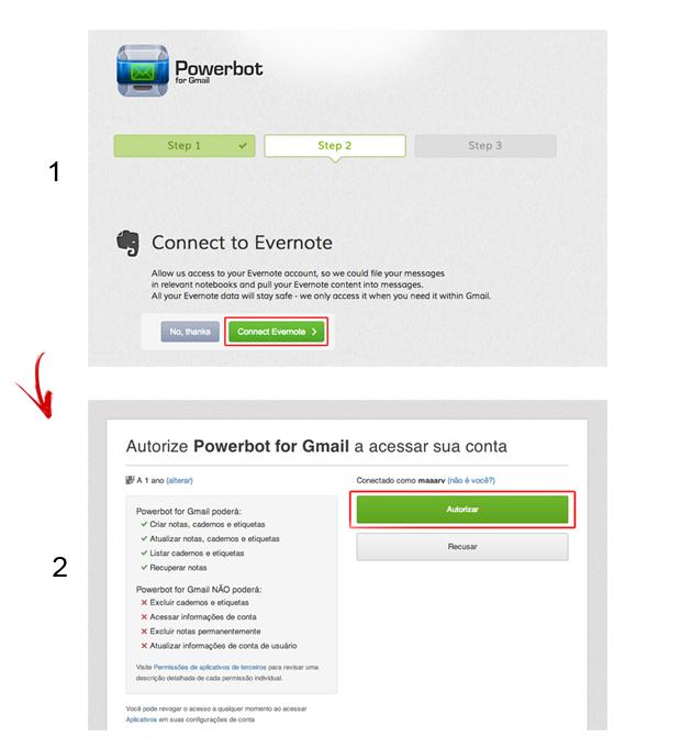 Vinculando o Powerbot for Gmail ao Evernote (Foto: Reprodução/Marvin Costa)