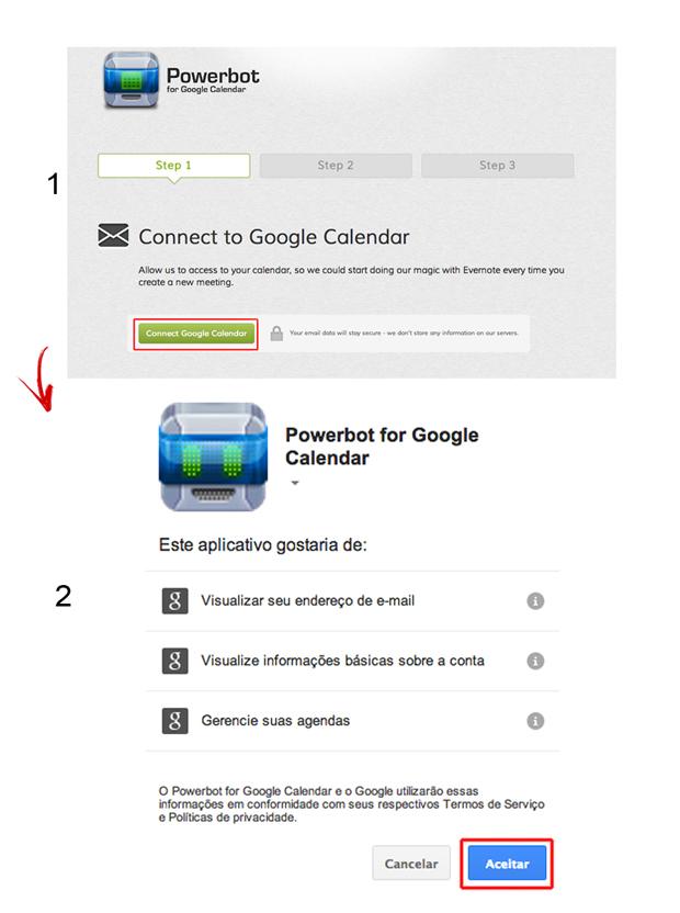 Vinculando o Powerbot ao Google Calendar (Foto: Reprodução/Marvin Costa)