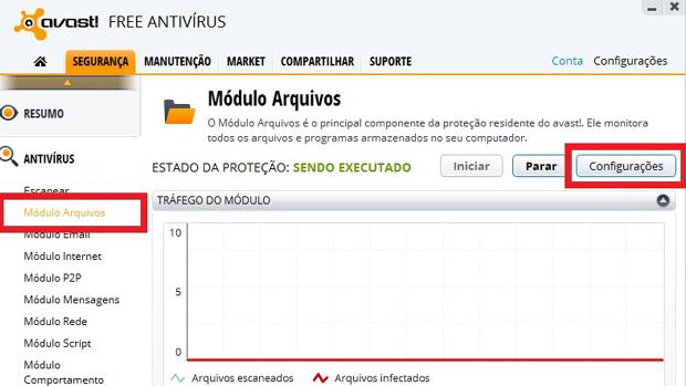 """Passo 1 – Na aba segurança clique em """"Módulo Arquivos"""" (Foto: newssystem.eti.br)"""