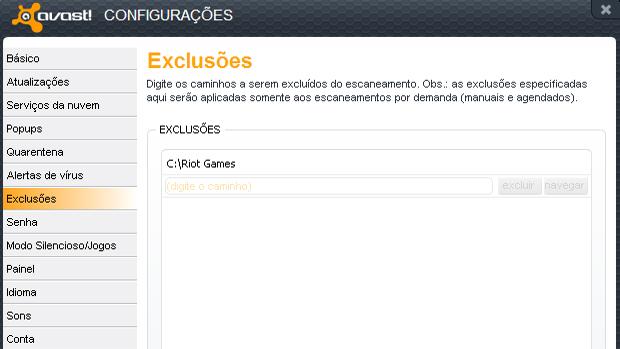 """Passo 3 - Adicione """"C:\Riot Games"""" sem aspas ou outra pasta de instalação nas exclusões (Foto: br.forum.z8games.com)"""