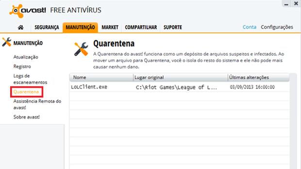 Passo 7 - Encontre o arquivo LoLClient.exe na Quarentena e restaure-o (Foto: bnpinfo.com.br)