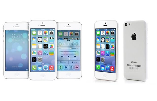 iPhone 5S (à esquerda) e 5C (à direita) serão apresentados com iOS 7 (Foto: Arte/TechTudo)