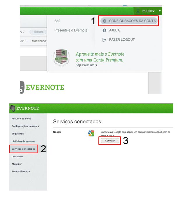 Vinculando o Evernote a sua conta no Gmail (Foto: Reprodução/Marvin Costa)