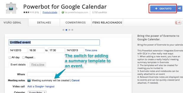 Baixando a extensão do Powerbot for Google Calendar (Foto: Reprodução/Marvin Costa)