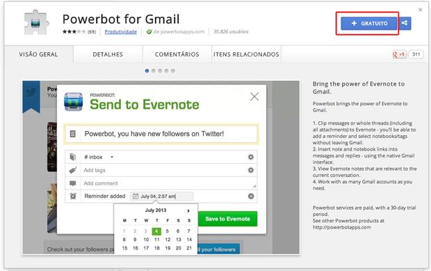 Baixando a extensão do Powerbot for Gmail para seu navegador (Foto: Reprodução/Marvin Costa)