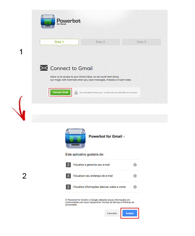 Vinculando o Powerbot ao Gmail (Foto: Reprodução/Marvin Costa)