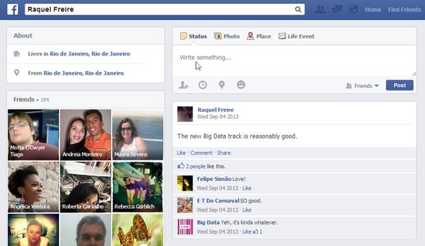 Timeline falsa, com atualização de status e interação dos amigos (Foto: Reprodução/Raquel Freire)