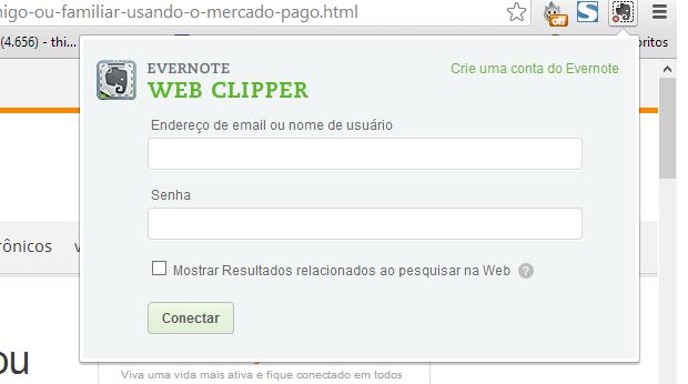 Use sua conta do Evernote para fazer login (Foto: Reprodução/Thiago Barros)
