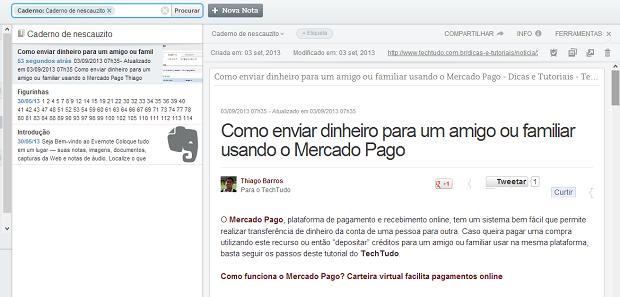 Artigo fica salvo no Evernote (Foto: Reprodução/Thiago Barros)