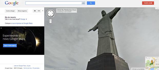 Cristo agora aparece no Street View (Foto: Divulgação)